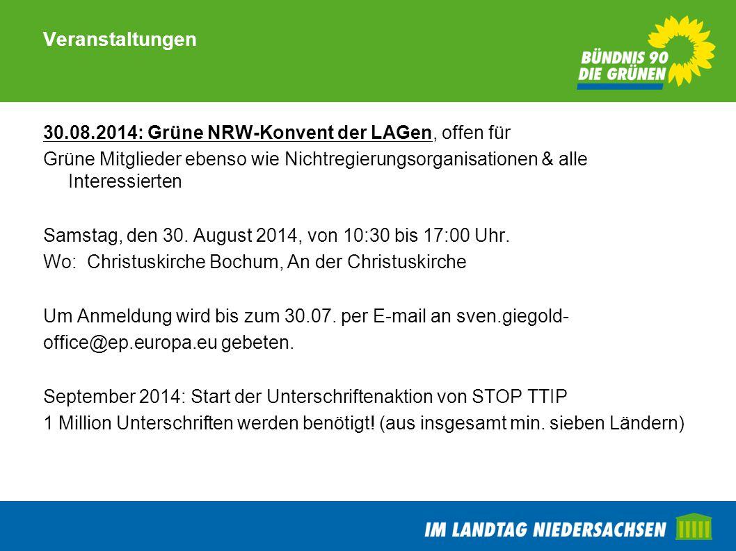 Veranstaltungen 30.08.2014: Grüne NRW-Konvent der LAGen, offen für Grüne Mitglieder ebenso wie Nichtregierungsorganisationen & alle Interessierten Sam