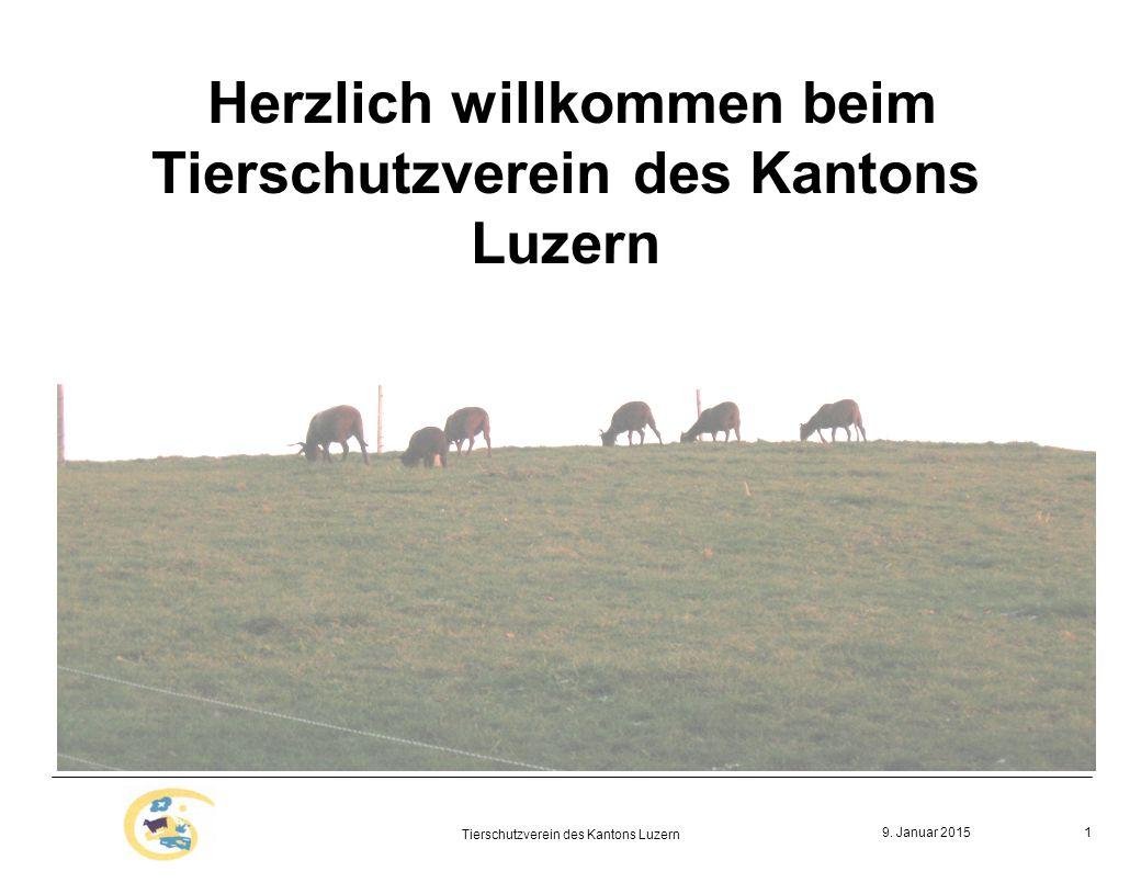 9. Januar 2015 Tierschutzverein des Kantons Luzern 1 Herzlich willkommen beim Tierschutzverein des Kantons Luzern