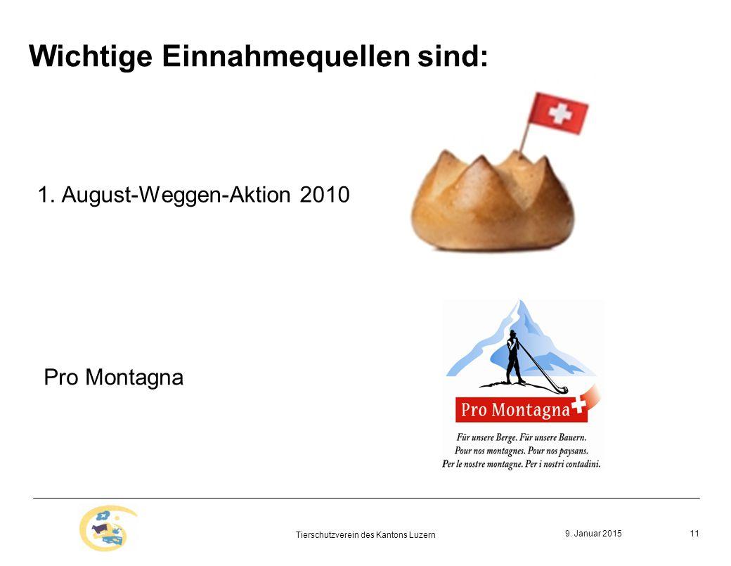 9. Januar 2015 Tierschutzverein des Kantons Luzern 11 Wichtige Einnahmequellen sind: 1.