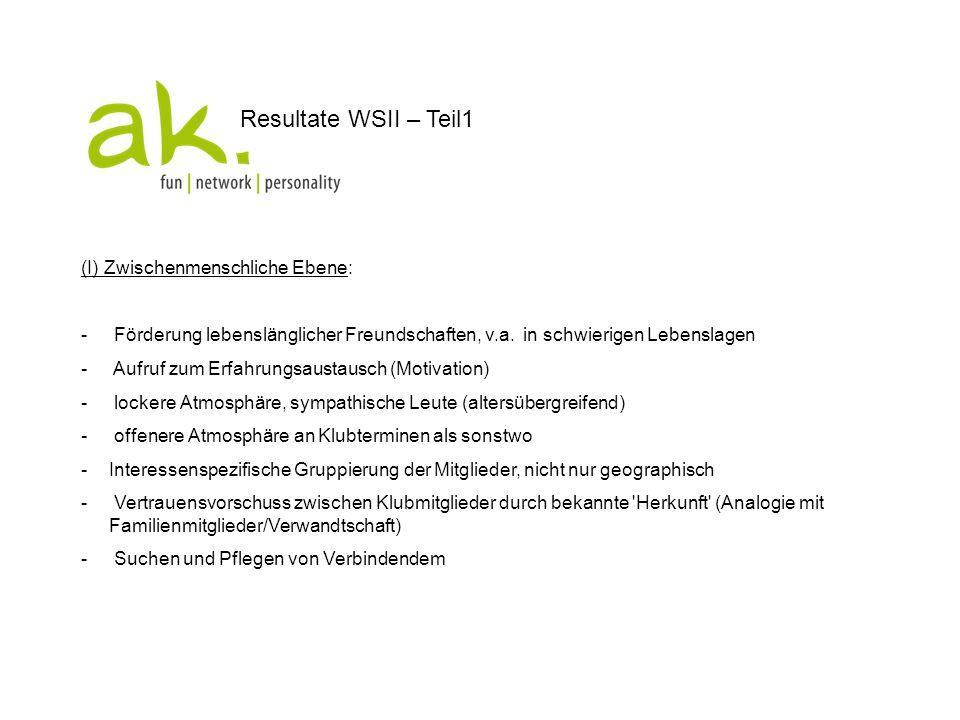 Resultate WSII – Teil 2 (II) Instrumente: - Plattform für Austausch zwischen Klubmitgliedern / Soziales Netzwerk / Kommunikation (v.a.