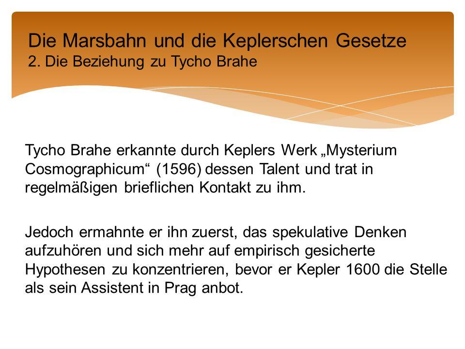 """Tycho Brahe erkannte durch Keplers Werk """"Mysterium Cosmographicum (1596) dessen Talent und trat in regelmäßigen brieflichen Kontakt zu ihm."""