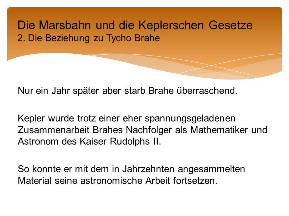 Nur ein Jahr später aber starb Brahe überraschend.