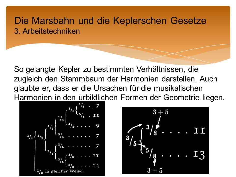 So gelangte Kepler zu bestimmten Verhältnissen, die zugleich den Stammbaum der Harmonien darstellen.