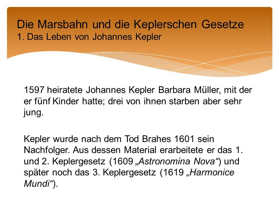 1597 heiratete Johannes Kepler Barbara Müller, mit der er fünf Kinder hatte; drei von ihnen starben aber sehr jung.