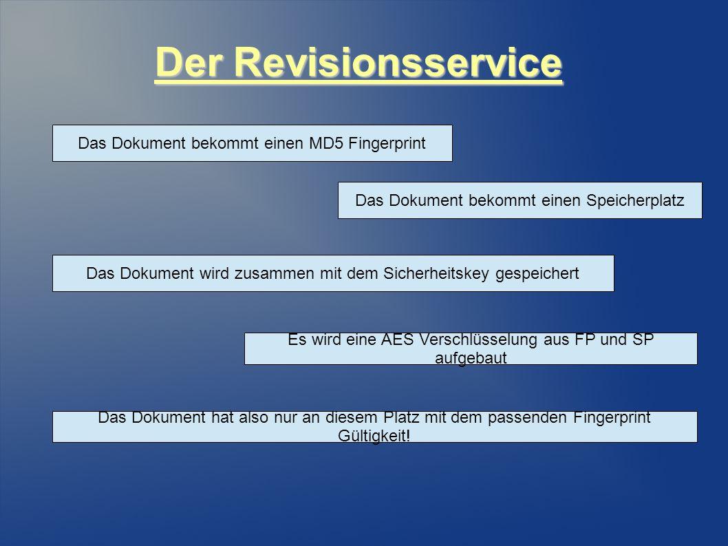 Der Revisionsservice Das Dokument bekommt einen MD5 Fingerprint Das Dokument bekommt einen Speicherplatz Das Dokument wird zusammen mit dem Sicherheitskey gespeichert Es wird eine AES Verschlüsselung aus FP und SP aufgebaut Das Dokument hat also nur an diesem Platz mit dem passenden Fingerprint Gültigkeit!