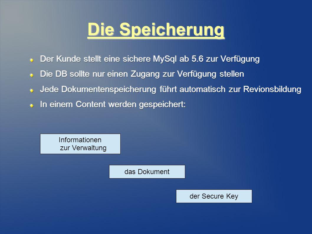 Die Speicherung das Dokument der Secure Key Informationen zur Verwaltung