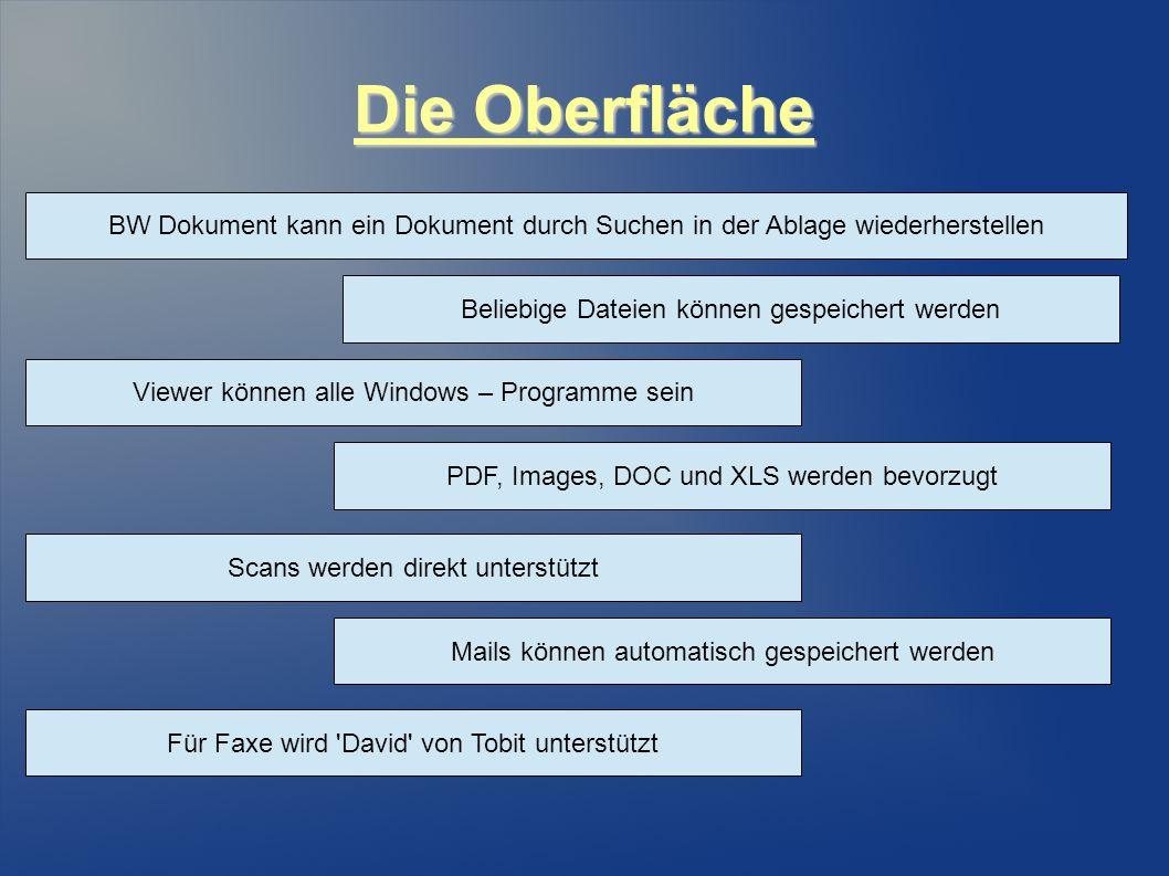 Die Oberfläche BW Dokument kann ein Dokument durch Suchen in der Ablage wiederherstellen Beliebige Dateien können gespeichert werden Viewer können alle Windows – Programme sein PDF, Images, DOC und XLS werden bevorzugt Scans werden direkt unterstützt Mails können automatisch gespeichert werden Für Faxe wird David von Tobit unterstützt