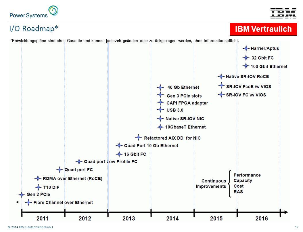 © 2014 IBM Deutschland GmbH17 I/O Roadmap* IBM Vertraulich *Entwicklungspläne sind ohne Garantie und können jederzeit geändert oder zurückgezogen werd