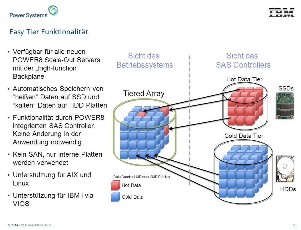 """© 2014 IBM Deutschland GmbH23 Easy Tier Funktionalität Verfügbar für alle neuen POWER8 Scale-Out Servers mit der """"high-function"""" Backplane Automatisch"""