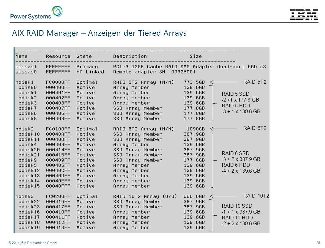 © 2014 IBM Deutschland GmbH25 AIX RAID Manager – Anzeigen der Tiered Arrays RAID 5T2 RAID 6T2 RAID 10T2 RAID 5 SSD -2 +1 x 177.8 GB RAID 5 HDD -3 + 1
