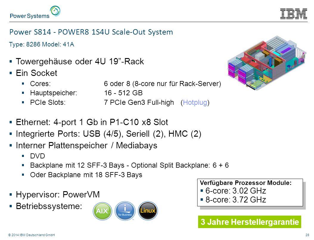"""© 2014 IBM Deutschland GmbH28 Power S814 - POWER8 1S4U Scale-Out System Type: 8286 Model: 41A  Towergehäuse oder 4U 19""""-Rack  Ein Socket  Cores: 6"""