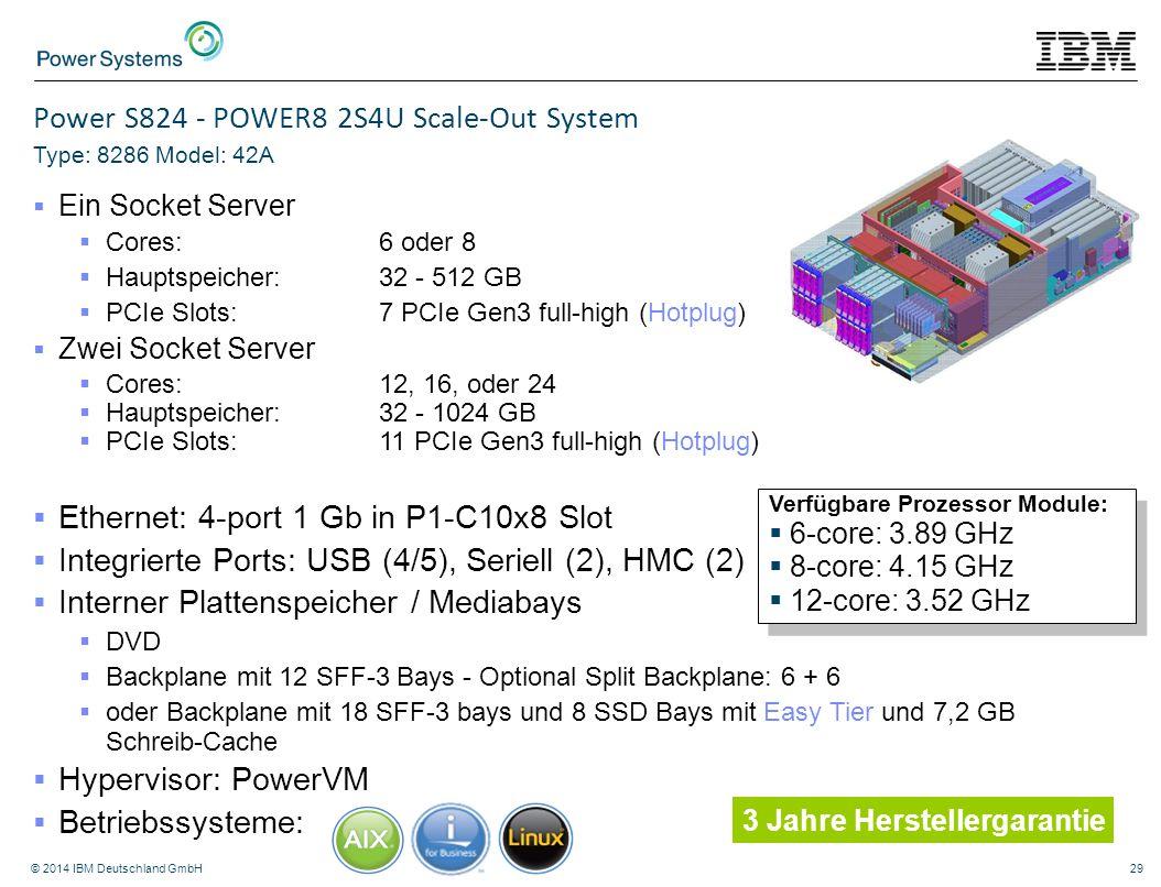 © 2014 IBM Deutschland GmbH29 Power S824 - POWER8 2S4U Scale-Out System Type: 8286 Model: 42A  Ein Socket Server  Cores: 6 oder 8  Hauptspeicher:32