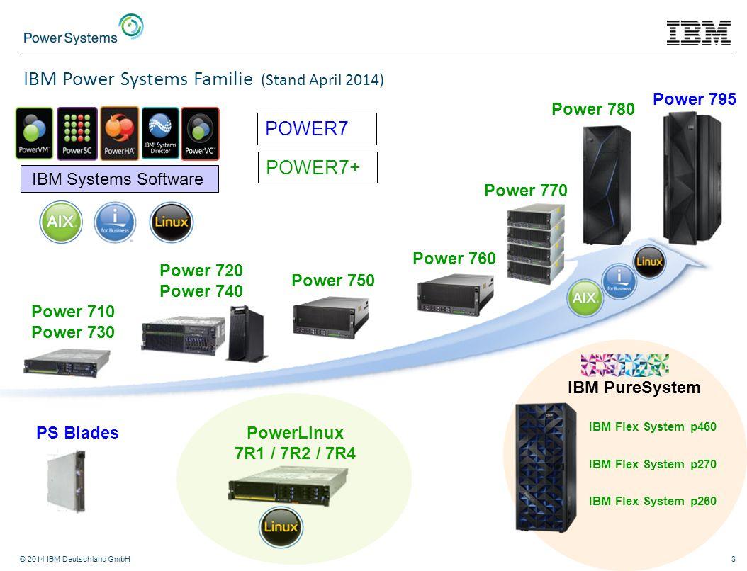 © 2014 IBM Deutschland GmbH3 Power 770 Power 780 Power 750 Power 710 Power 730 Power 720 Power 740 PS Blades IBM PureSystem IBM Flex System p460 IBM F