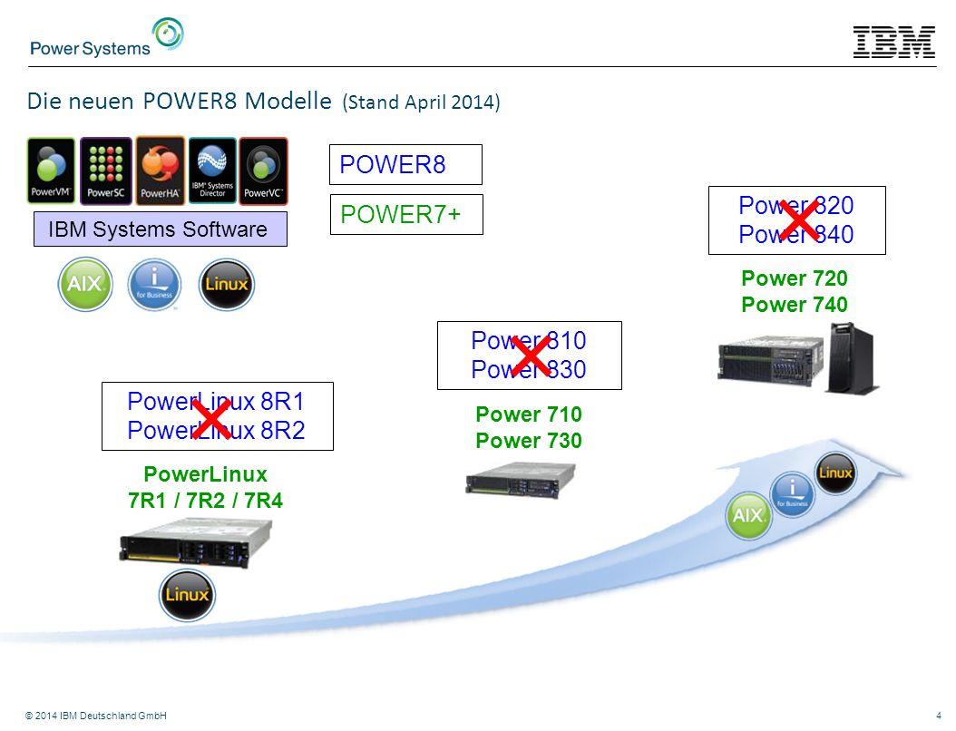 © 2014 IBM Deutschland GmbH4 Power 710 Power 730 Power 720 Power 740 IBM Systems Software PowerLinux 7R1 / 7R2 / 7R4 Die neuen POWER8 Modelle (Stand A