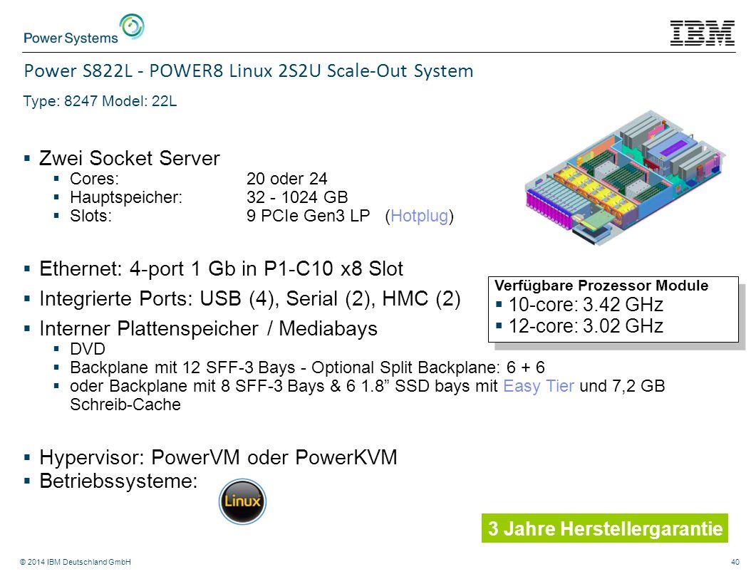© 2014 IBM Deutschland GmbH40 Power S822L - POWER8 Linux 2S2U Scale-Out System Type: 8247 Model: 22L  Zwei Socket Server  Cores: 20 oder 24  Haupts