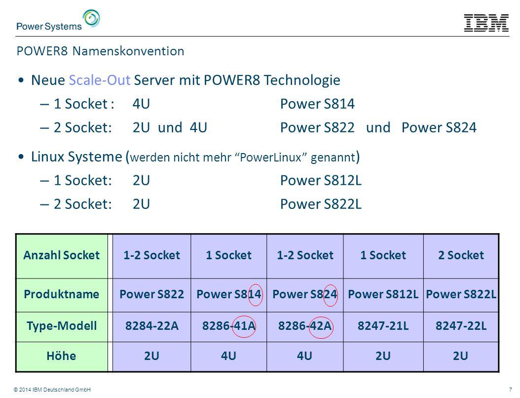 © 2014 IBM Deutschland GmbH7 POWER8 Namenskonvention Anzahl Socket 1-2 Socket1 Socket1-2 Socket1 Socket2 Socket ProduktnamePower S822Power S814Power S