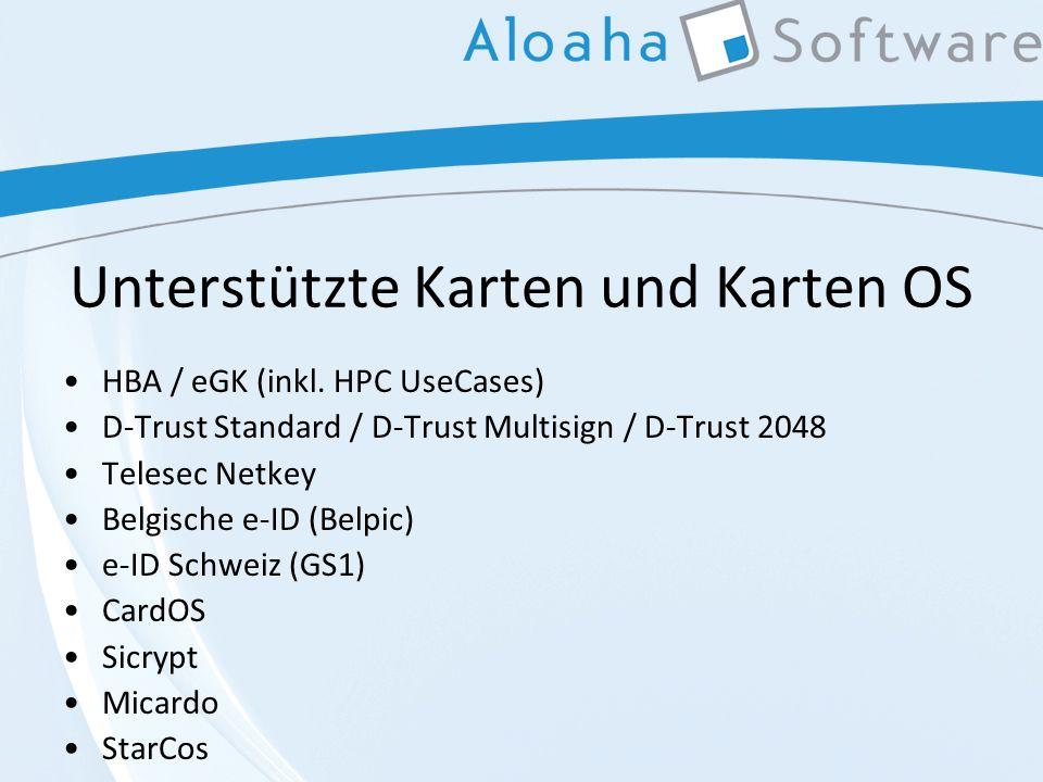 Unterstützte Karten und Karten OS HBA / eGK (inkl.