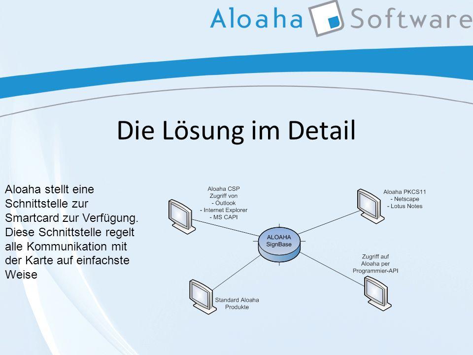 Die Lösung im Detail Aloaha stellt eine Schnittstelle zur Smartcard zur Verfügung.