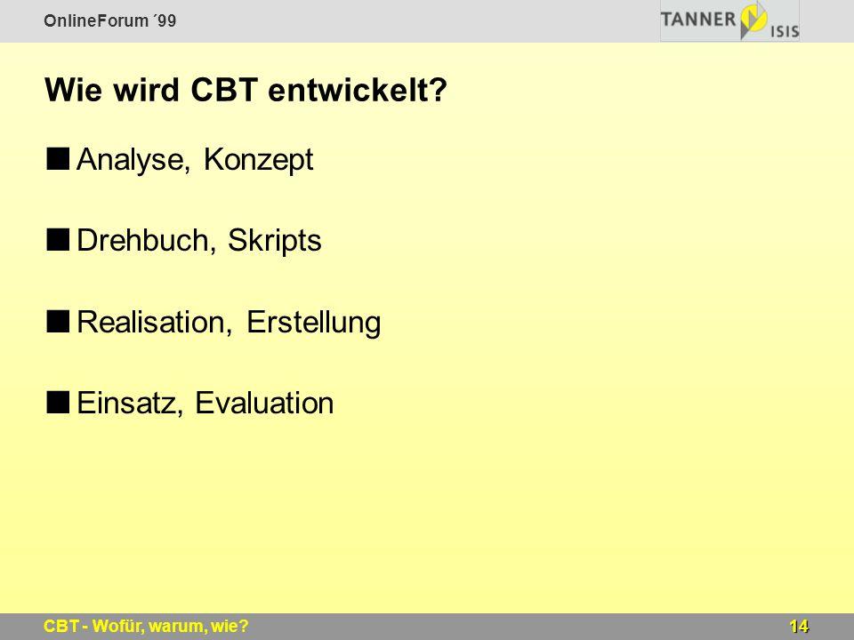 OnlineForum ´99 14CBT - Wofür, warum, wie? Wie wird CBT entwickelt? Analyse, Konzept Drehbuch, Skripts Realisation, Erstellung Einsatz, Evaluation