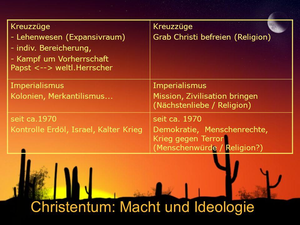 Christentum: Macht und Ideologie Kreuzzüge - Lehenwesen (Expansivraum) - indiv. Bereicherung, - Kampf um Vorherrschaft Papst weltl.Herrscher Kreuzzüge