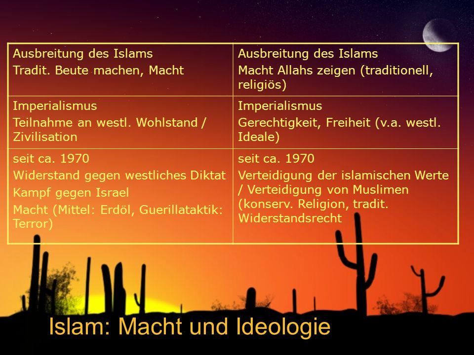 Islam: Macht und Ideologie Ausbreitung des Islams Tradit. Beute machen, Macht Ausbreitung des Islams Macht Allahs zeigen (traditionell, religiös) Impe