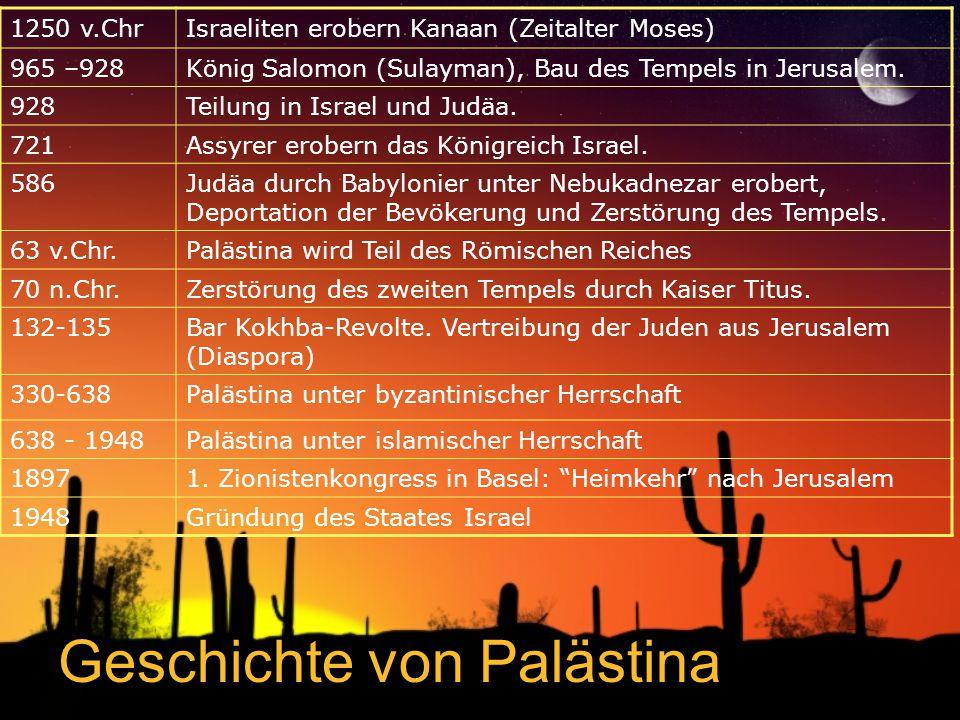 Geschichte von Palästina 1250 v.ChrIsraeliten erobern Kanaan (Zeitalter Moses) 965 –928König Salomon (Sulayman), Bau des Tempels in Jerusalem.