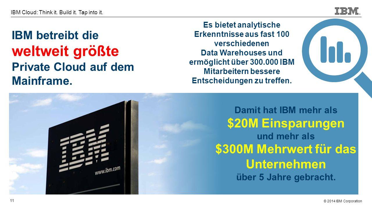 © 2014 IBM Corporation 11 IBM Cloud: Think it. Build it. Tap into it. IBM betreibt die weltweit größte Private Cloud auf dem Mainframe. Damit hat IBM