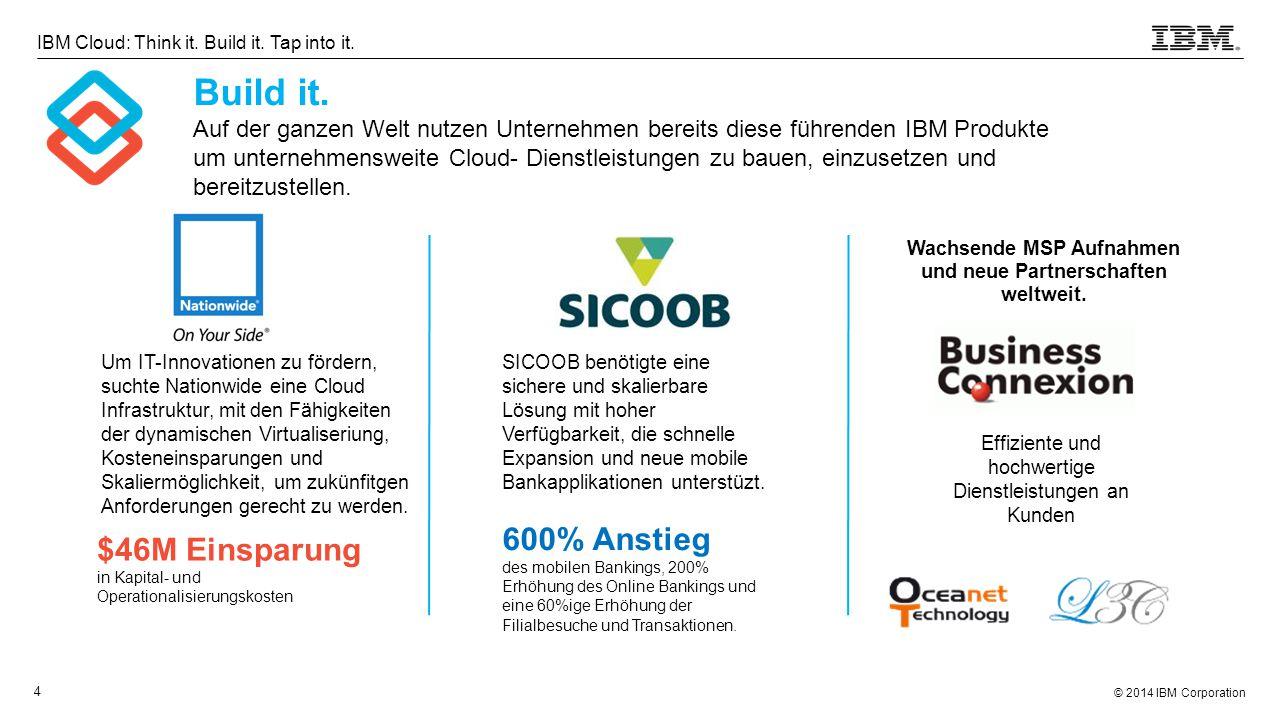 © 2014 IBM Corporation 4 IBM Cloud: Think it. Build it. Tap into it. Build it. Auf der ganzen Welt nutzen Unternehmen bereits diese führenden IBM Prod