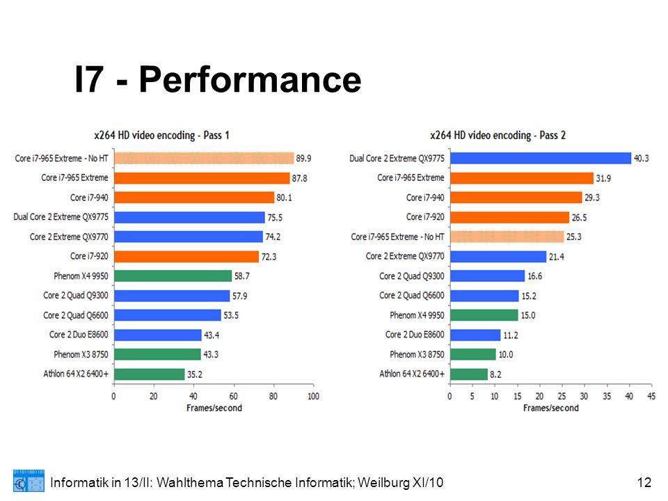 Informatik in 13/II: Wahlthema Technische Informatik; Weilburg XI/1012 I7 - Performance