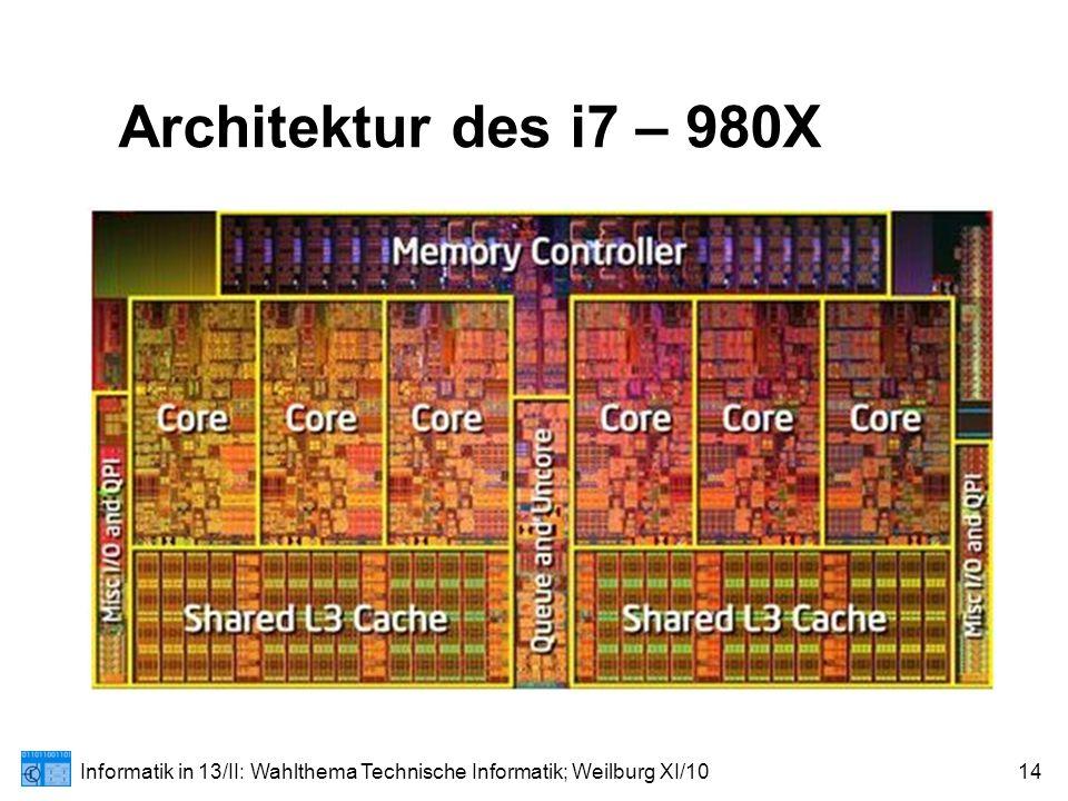 Informatik in 13/II: Wahlthema Technische Informatik; Weilburg XI/1014 Architektur des i7 – 980X