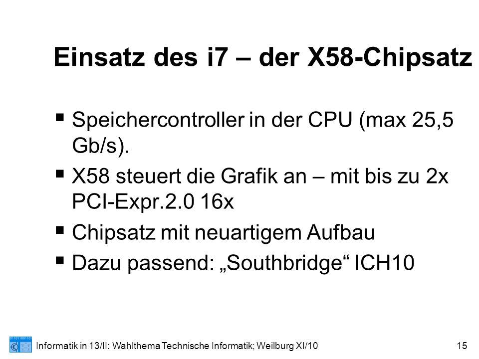 Informatik in 13/II: Wahlthema Technische Informatik; Weilburg XI/1015 Einsatz des i7 – der X58-Chipsatz  Speichercontroller in der CPU (max 25,5 Gb/s).