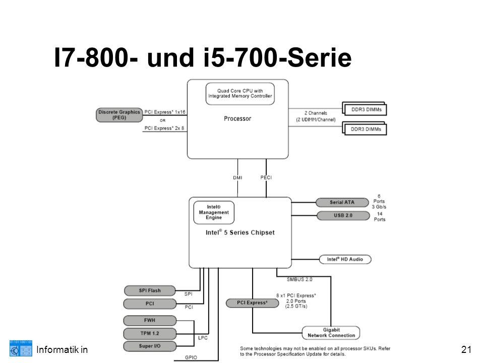 Informatik in 13/II: Wahlthema Technische Informatik; Weilburg XI/1021 I7-800- und i5-700-Serie