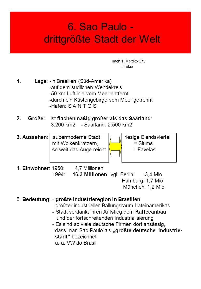 6. Sao Paulo - drittgrößte Stadt der Welt nach 1. Mexiko City 2.Tokio 1.Lage: -in Brasilien (Süd-Amerika) -auf dem südlichen Wendekreis -50 km Luftlin
