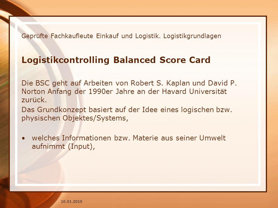 Geprüfte Fachkaufleute Einkauf und Logistik. Logistikgrundlagen Logistikcontrolling Balanced Score Card Die BSC geht auf Arbeiten von Robert S. Kaplan
