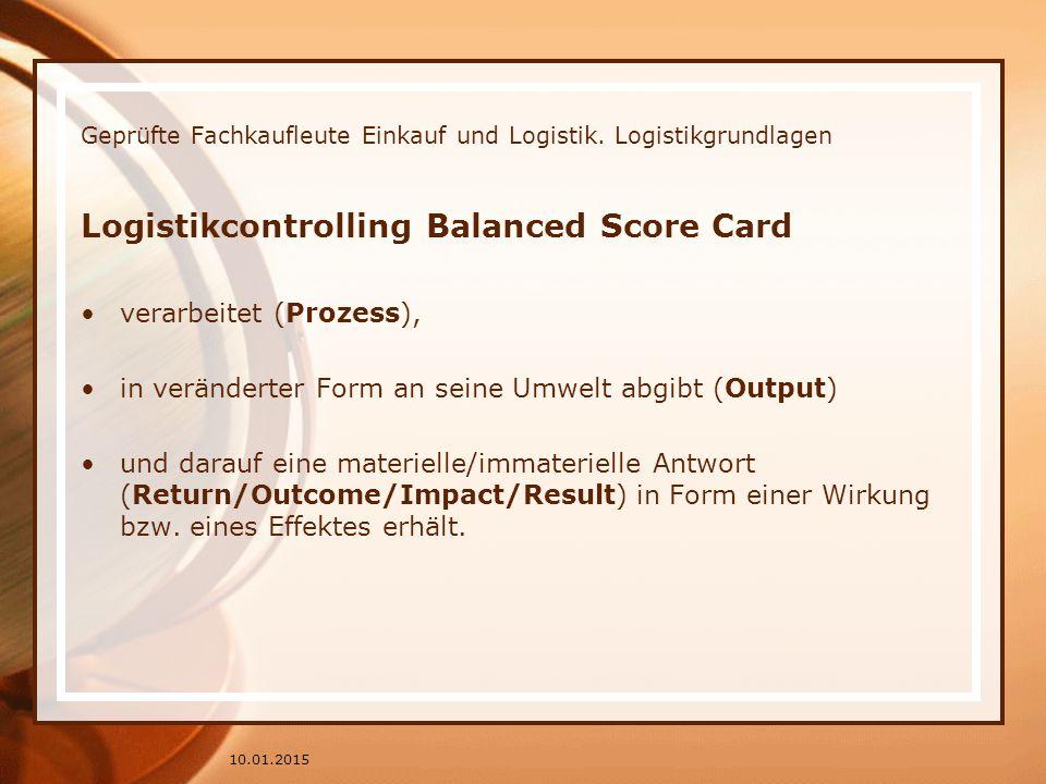 Geprüfte Fachkaufleute Einkauf und Logistik. Logistikgrundlagen Logistikcontrolling Balanced Score Card verarbeitet (Prozess), in veränderter Form an