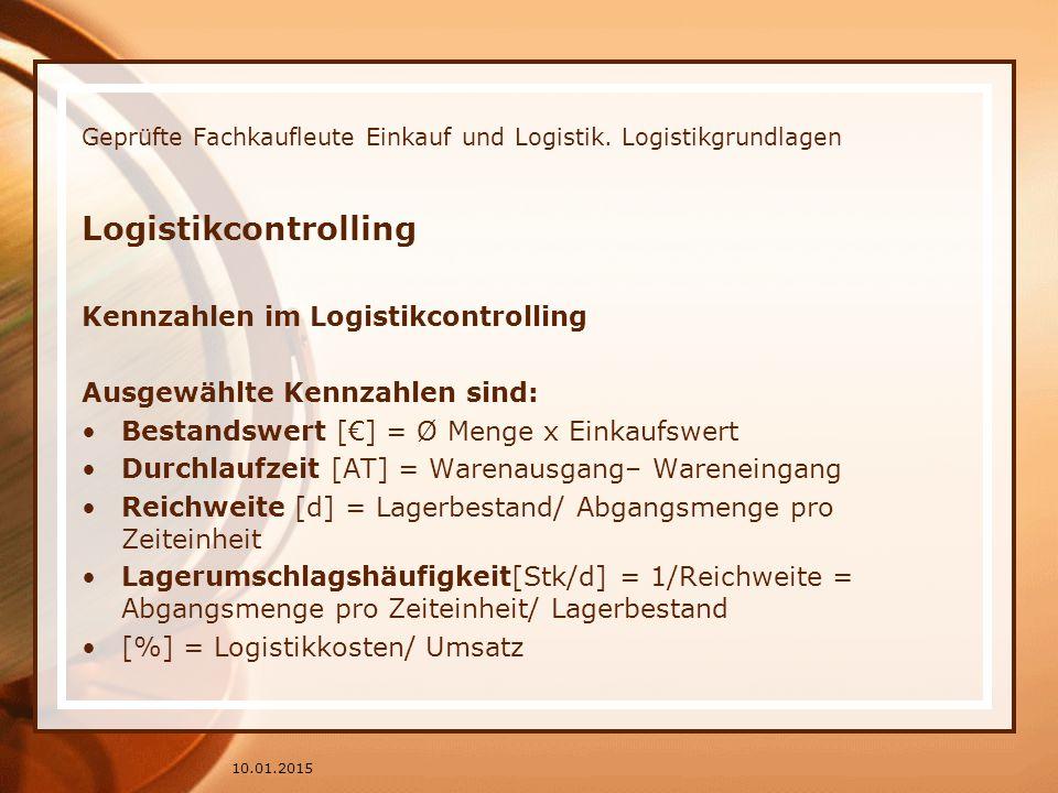 Geprüfte Fachkaufleute Einkauf und Logistik. Logistikgrundlagen Logistikcontrolling Kennzahlen im Logistikcontrolling Ausgewählte Kennzahlen sind: Bes