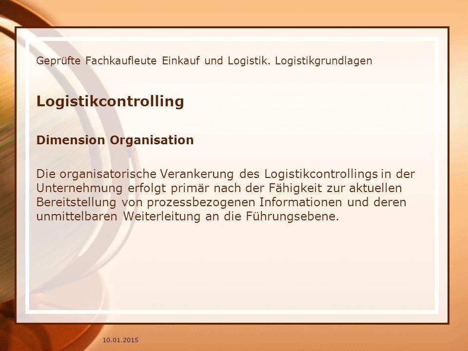 Geprüfte Fachkaufleute Einkauf und Logistik. Logistikgrundlagen Logistikcontrolling Dimension Organisation Die organisatorische Verankerung des Logist