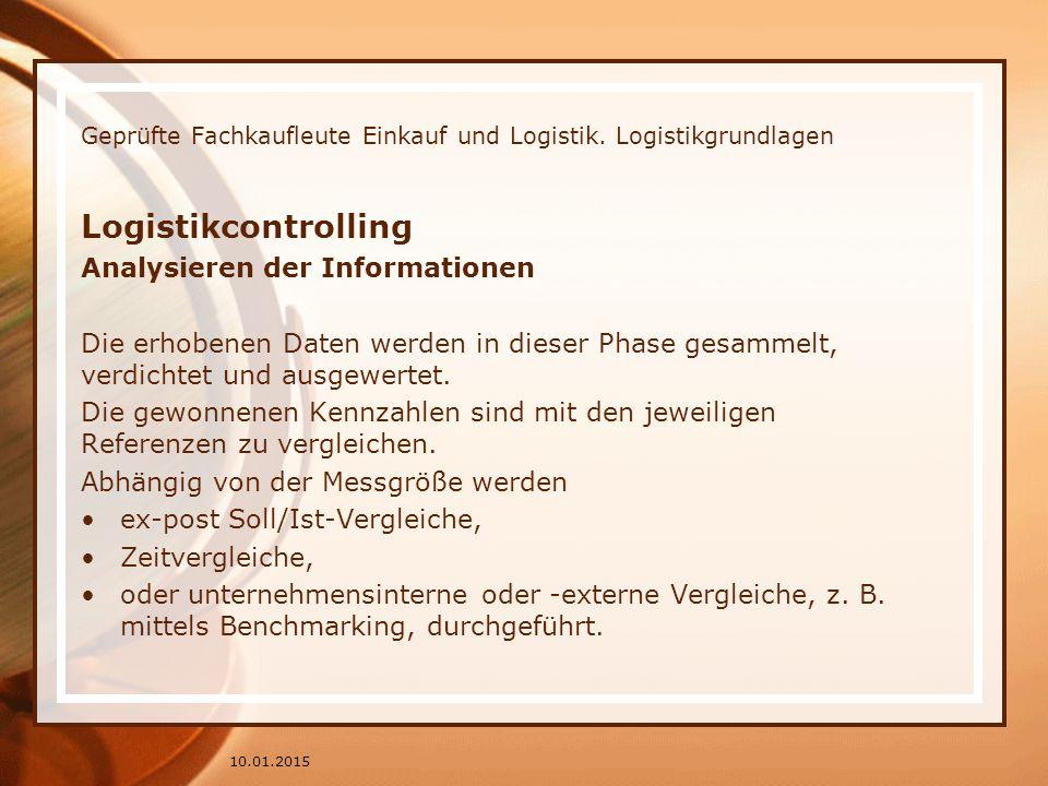 Geprüfte Fachkaufleute Einkauf und Logistik. Logistikgrundlagen Logistikcontrolling Analysieren der Informationen Die erhobenen Daten werden in dieser