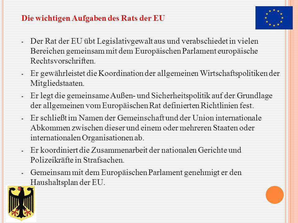 - Der Rat der EU übt Legislativgewalt aus und verabschiedet in vielen Bereichen gemeinsam mit dem Europäischen Parlament europäische Rechtsvorschrifte