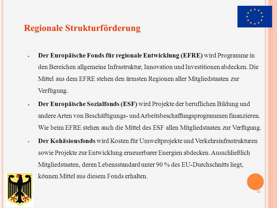 - Der Europäische Fonds für regionale Entwicklung (EFRE) wird Programme in den Bereichen allgemeine Infrastruktur, Innovation und Investitionen abdeck