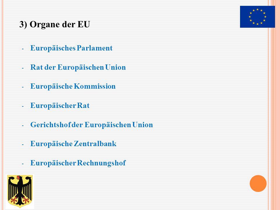 - Europäisches Parlament - Rat der Europäischen Union - Europäische Kommission - Europäischer Rat - Gerichtshof der Europäischen Union - Europäische Z
