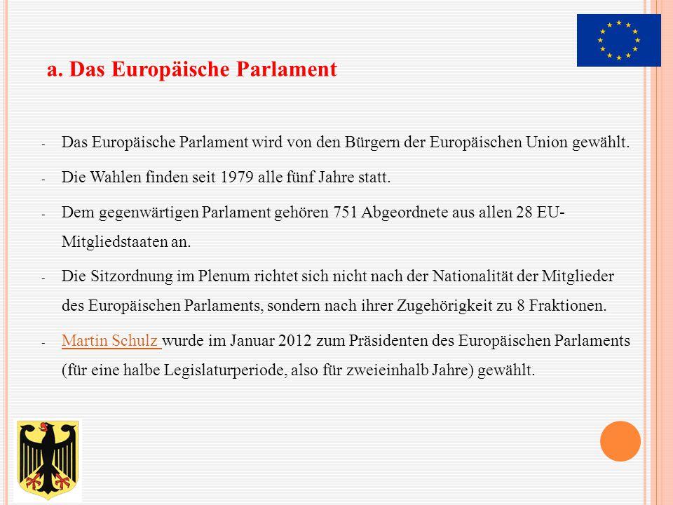 - Das Europäische Parlament wird von den Bürgern der Europäischen Union gewählt. - Die Wahlen finden seit 1979 alle fünf Jahre statt. - Dem gegenwärti