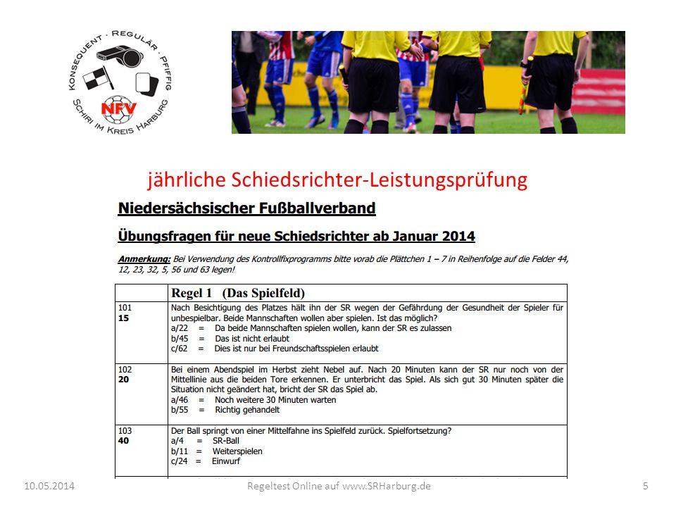 10.05.2014Regeltest Online auf www.SRHarburg.de jährliche Schiedsrichter-Leistungsprüfung 5