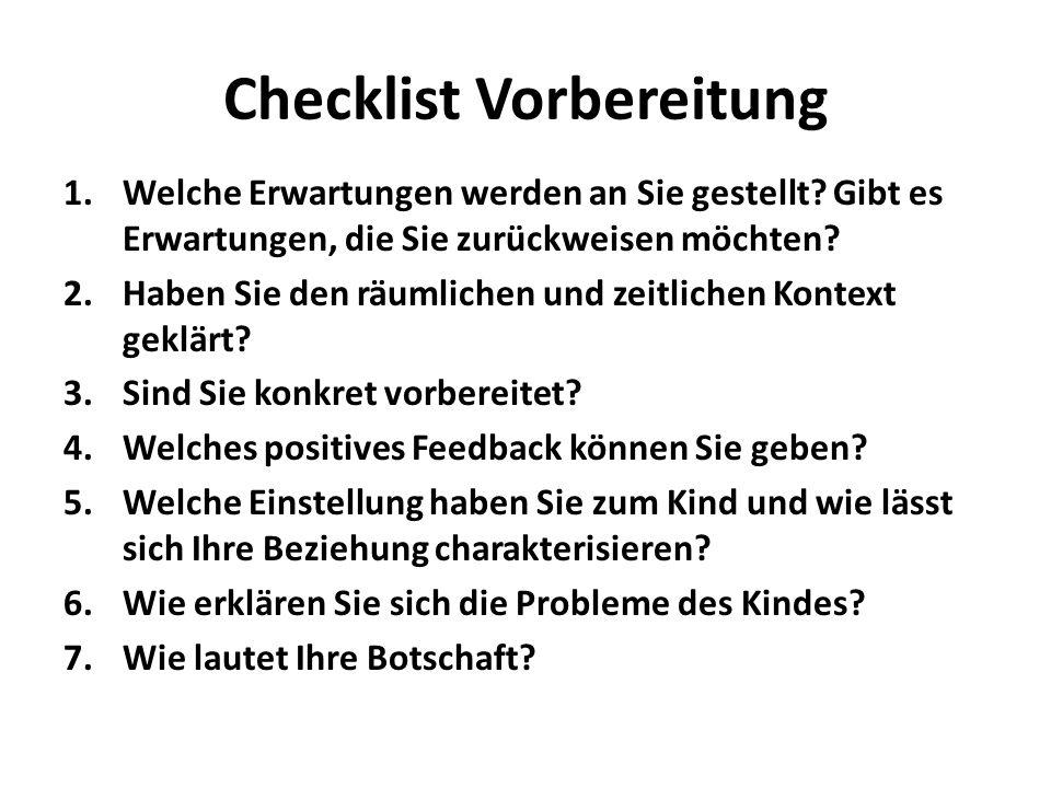 Checklist Vorbereitung 1.Welche Erwartungen werden an Sie gestellt? Gibt es Erwartungen, die Sie zurückweisen möchten? 2.Haben Sie den räumlichen und