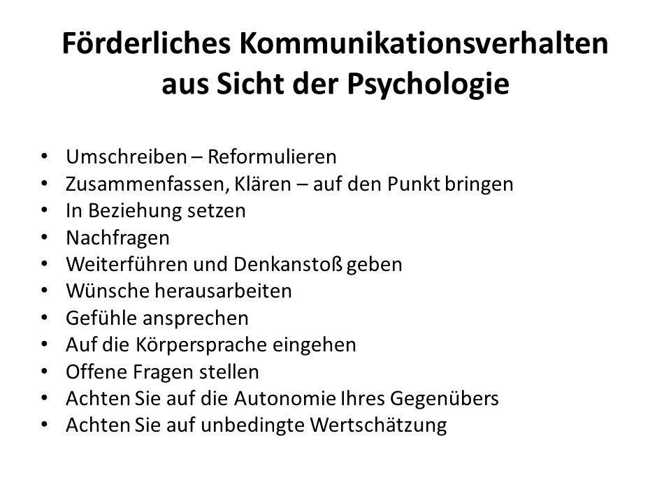 Förderliches Kommunikationsverhalten aus Sicht der Psychologie Umschreiben – Reformulieren Zusammenfassen, Klären – auf den Punkt bringen In Beziehung