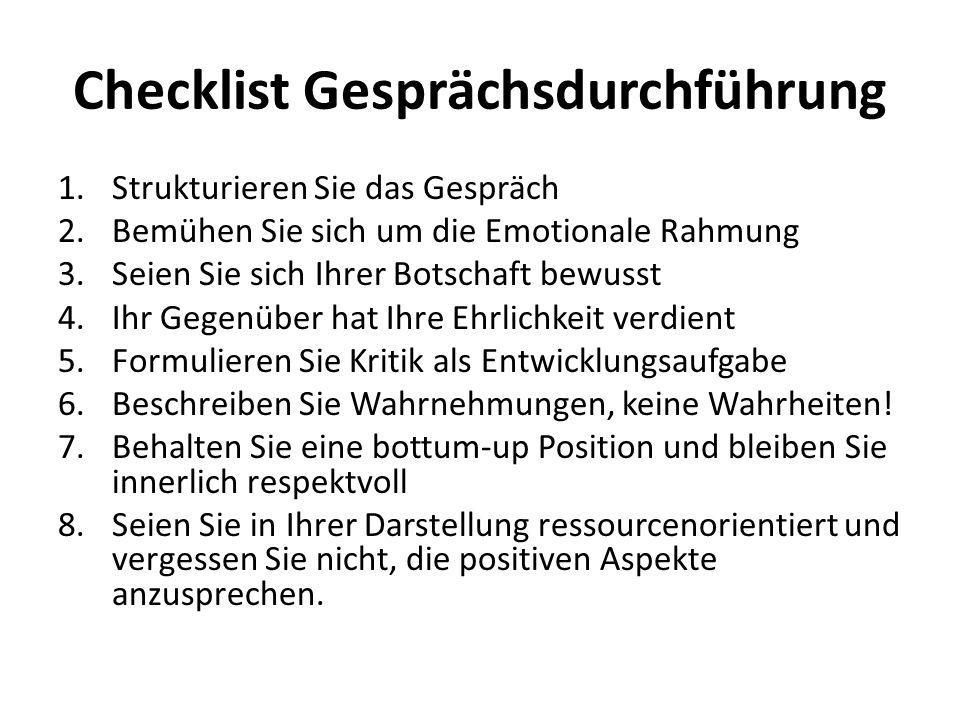 Checklist Gesprächsdurchführung 1.Strukturieren Sie das Gespräch 2.Bemühen Sie sich um die Emotionale Rahmung 3.Seien Sie sich Ihrer Botschaft bewusst