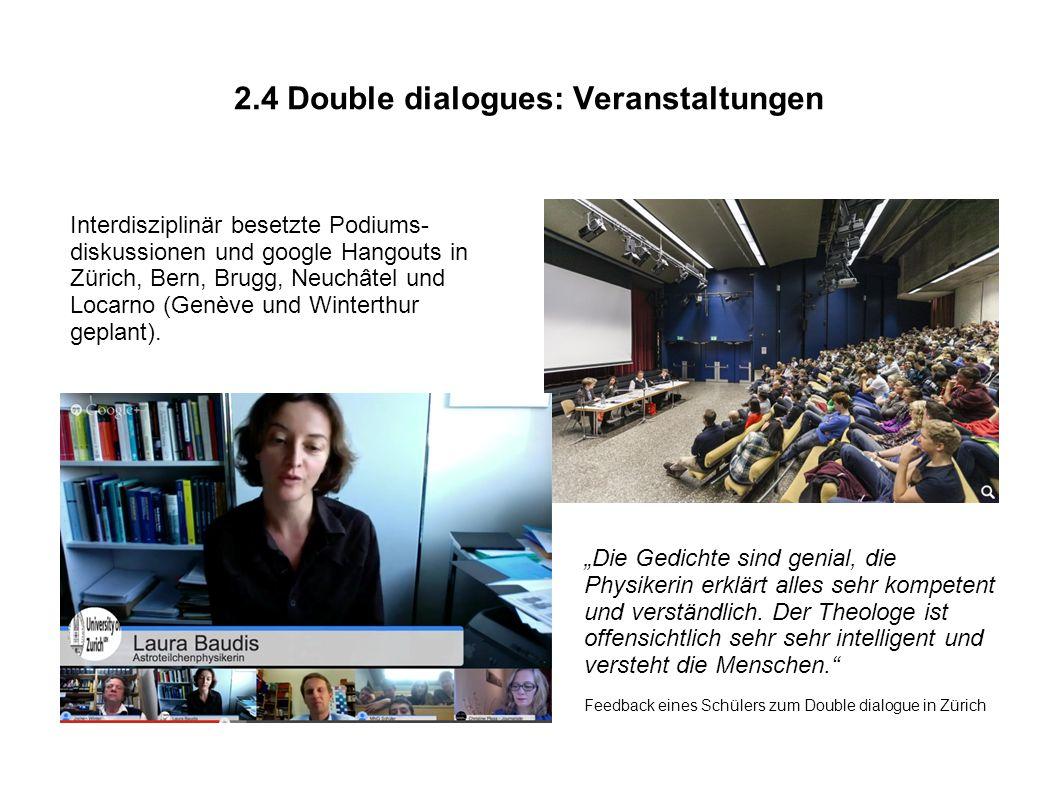 2.4 Double dialogues: Veranstaltungen Interdisziplinär besetzte Podiums- diskussionen und google Hangouts in Zürich, Bern, Brugg, Neuchâtel und Locarno (Genève und Winterthur geplant).