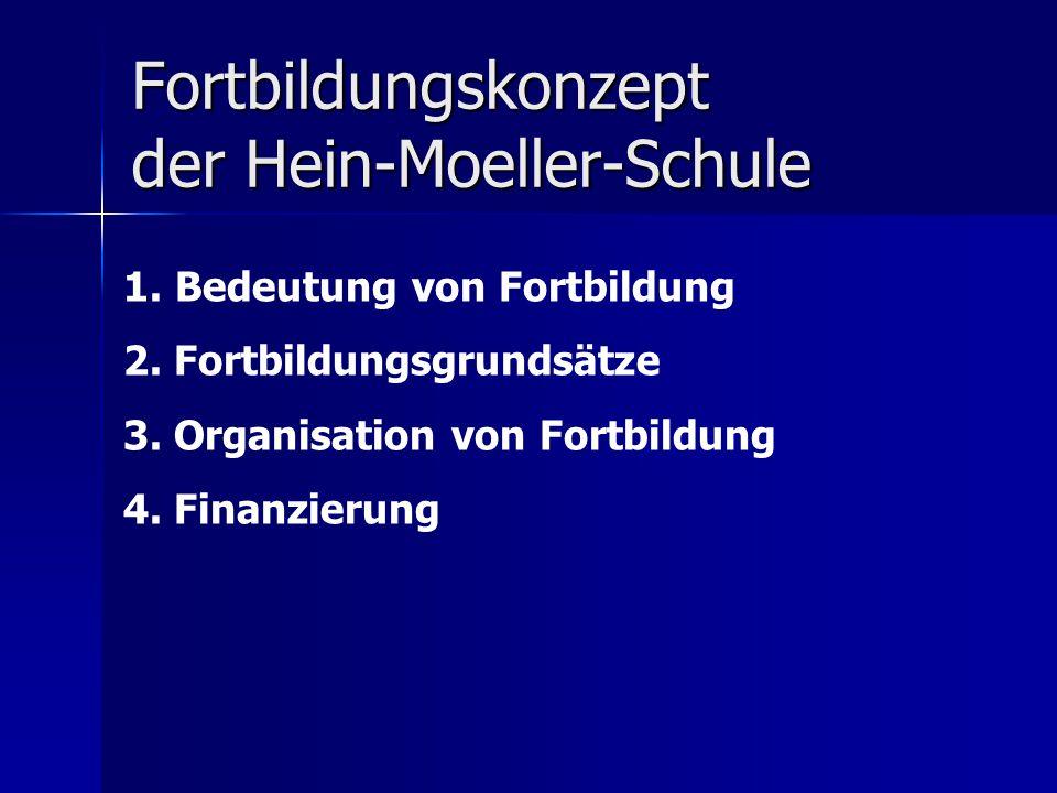 Fortbildungskonzept der Hein-Moeller-Schule 1. Bedeutung von Fortbildung 2. Fortbildungsgrundsätze 3. Organisation von Fortbildung 4. Finanzierung