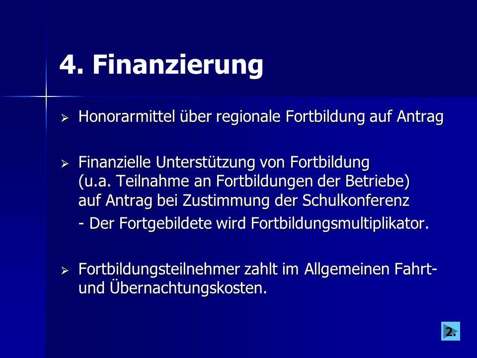 4. Finanzierung  Honorarmittel über regionale Fortbildung auf Antrag  Finanzielle Unterstützung von Fortbildung (u.a. Teilnahme an Fortbildungen der
