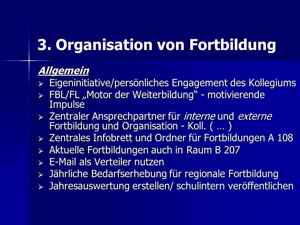"""3. Organisation von Fortbildung Allgemein  Eigeninitiative/persönliches Engagement des Kollegiums  FBL/FL """"Motor der Weiterbildung"""" - motivierende I"""